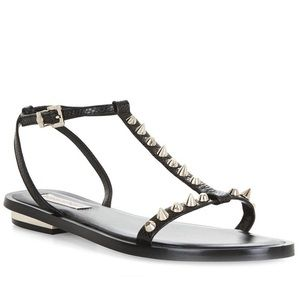 BCBGMaxAzria Black Leather Studded Sandals Size 7